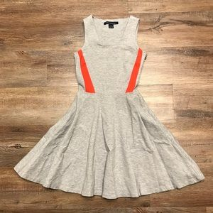 Grey stretch knit red skater dress flare circle